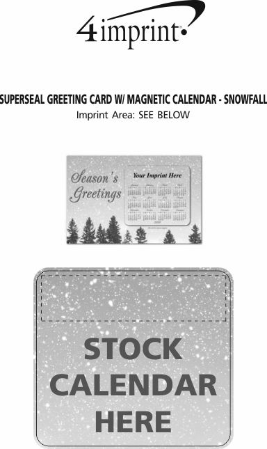 Imprint Area of Greeting Card with Magnetic Calendar - Snowfall