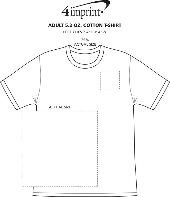 Imprint Area of Adult 5.2 oz. Cotton T-Shirt - Screen