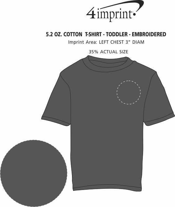 Imprint Area of 5.2 oz. Cotton  T-Shirt - Toddler - Embroidered