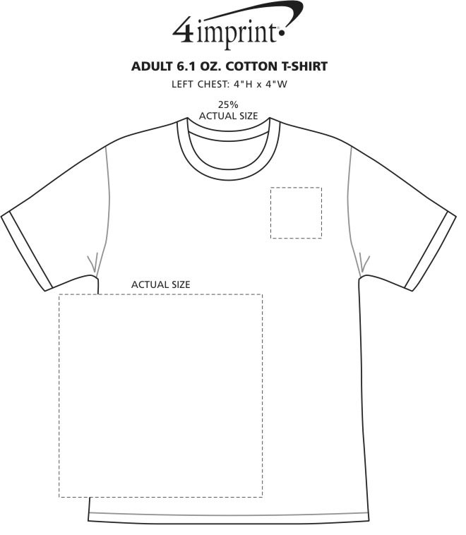 Imprint Area of Adult 6 oz. Cotton T-Shirt - Screen