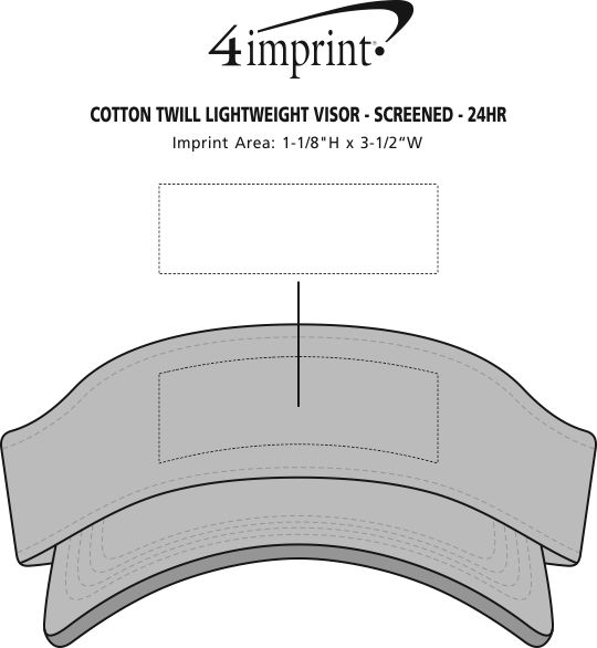 Imprint Area of Cotton Twill Lightweight Visor - Screen - 24 hr