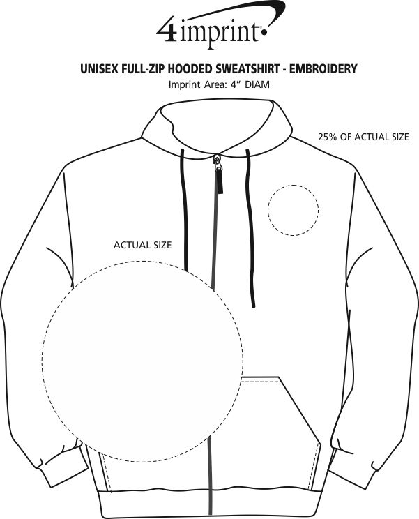 Imprint Area of Independent Trading Co. Full-Zip Hooded Sweatshirt - Embroidered