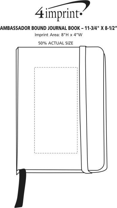 "Imprint Area of Ambassador Bound Journal Book - 11-3/4"" x 8-1/2"" - Screen"