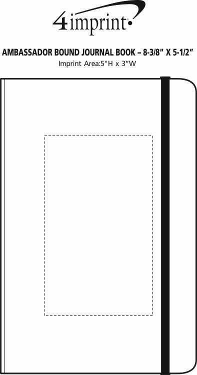 """Imprint Area of Ambassador Bound Journal Book - 8-3/8"""" x 5-1/2"""" - Debossed"""