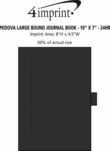 "Imprint Area of Pedova Large Bound Journal Book - 10"" x 7"" - 24 hr"