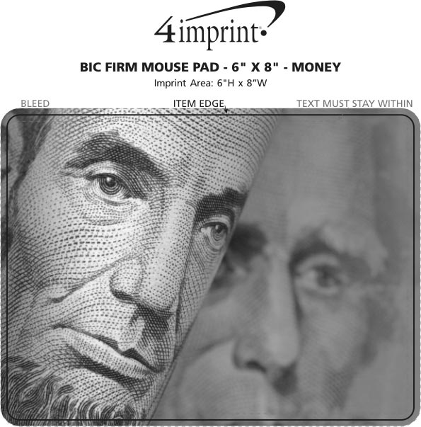 "Imprint Area of Bic Firm Mouse Pad - 6"" x 8"" - Money"