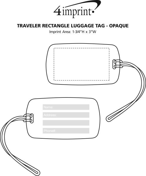 Imprint Area of Traveler Rectangle Luggage Tag - Opaque