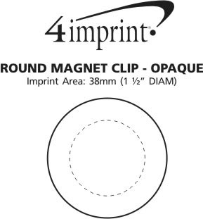 Imprint Area of Round Magnet Clip - Opaque
