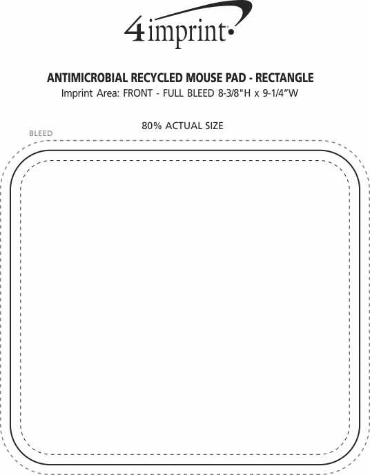 Imprint Area of Mouse Pad with Antimicrobial Additive - Rectangle