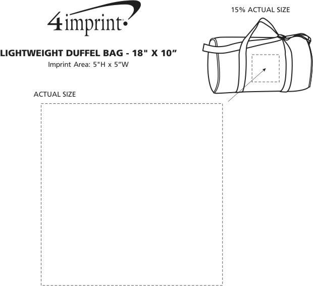 """Imprint Area of Lightweight Duffel Bag - 18"""" x 10"""""""