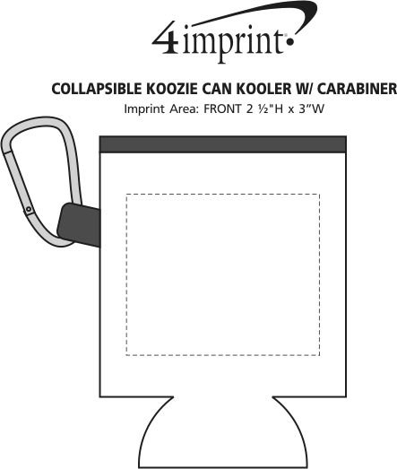 Imprint Area of Collapsible Koozie® Can Kooler with Carabiner