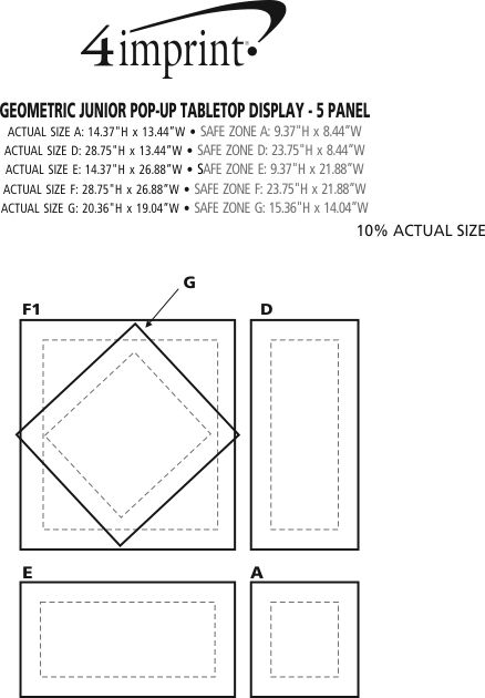 Imprint Area of Geometric Junior Pop-Up Tabletop Display - 5 Panel