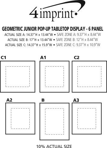 Imprint Area of Geometric Junior Pop-Up Tabletop Display - 6 Panel