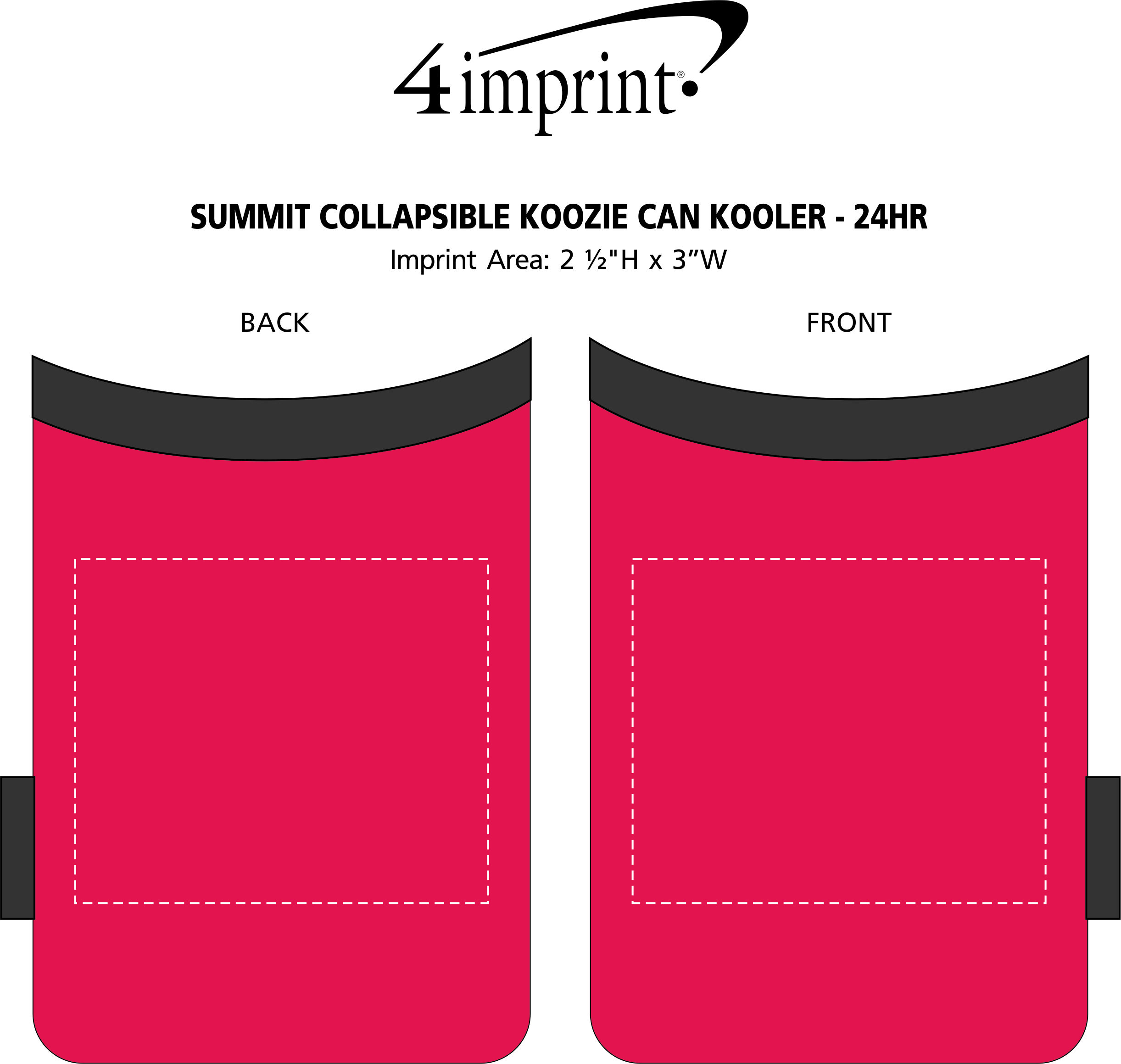 Imprint Area of Summit Collapsible Koozie® Can Kooler - 24 hr