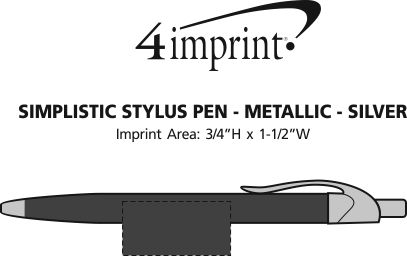 Imprint Area of Simplistic Stylus Pen - Metallic - Silver
