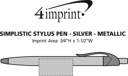 Imprint Area of Simplistic Stylus Pen - Silver - Metallic