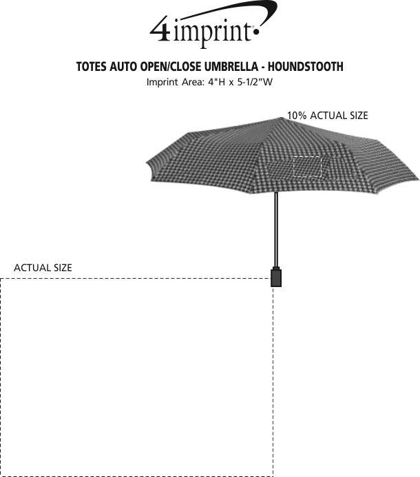 "Imprint Area of totes Auto Open/Close Umbrella - Houndstooth - 43"" Arc"