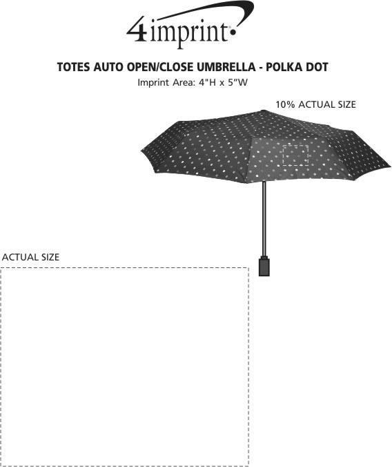 "Imprint Area of totes Auto Open/Close Umbrella - Polka Dot - 43"" Arc"