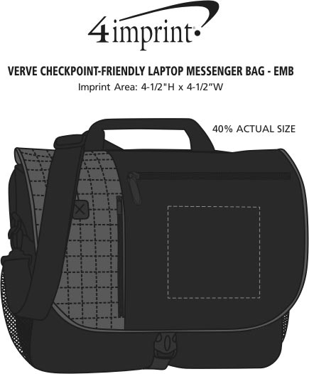 Imprint Area of Verve Checkpoint-Friendly Laptop Messenger Bag - Embroidered