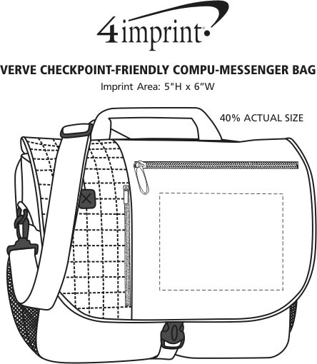 Imprint Area of Verve Checkpoint-Friendly Laptop Messenger Bag