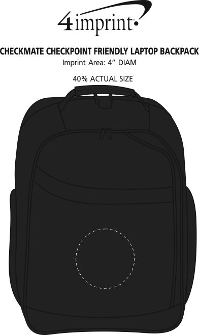 Imprint Area of Checkmate Checkpoint Friendly Laptop Backpack - Embroidered