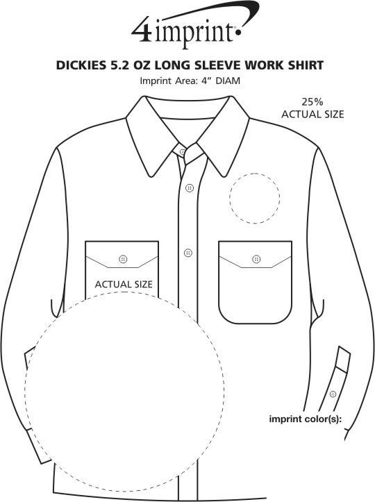 Imprint Area of Dickies 5.2 oz. Long Sleeve Work Shirt