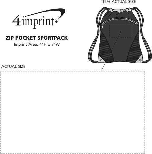 Imprint Area of Zip Pocket Sportpack