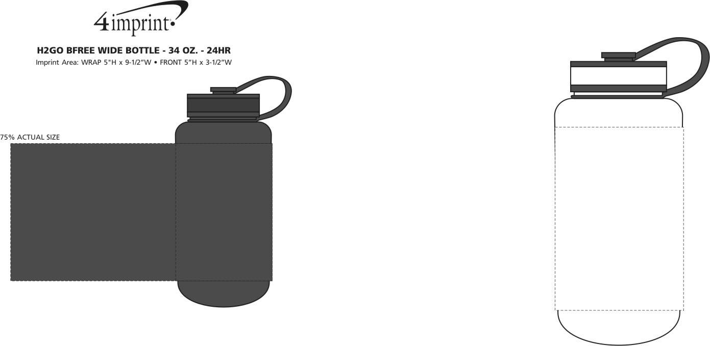 Imprint Area of h2go bfree Wide Sport Bottle - 34 oz. - 24 hr