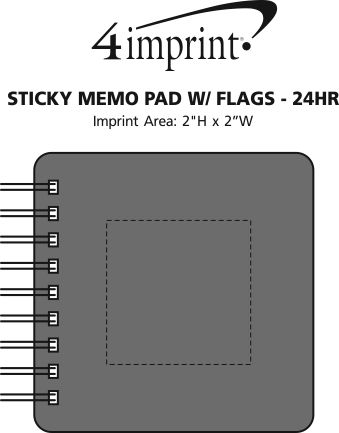 Imprint Area of Sticky Memo Pad with Flags - 24 hr