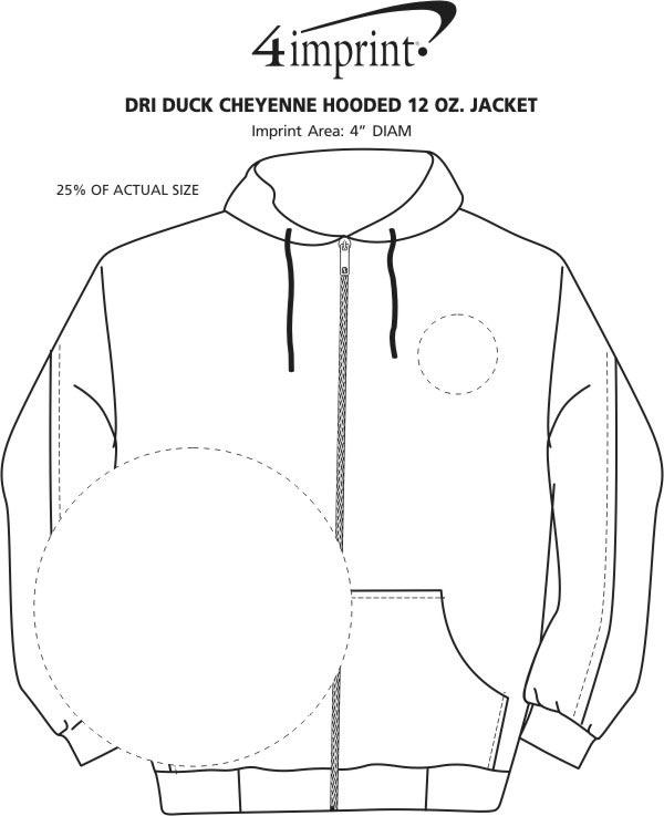 Imprint Area of DRI DUCK Cheyenne Hooded 12 oz. Jacket
