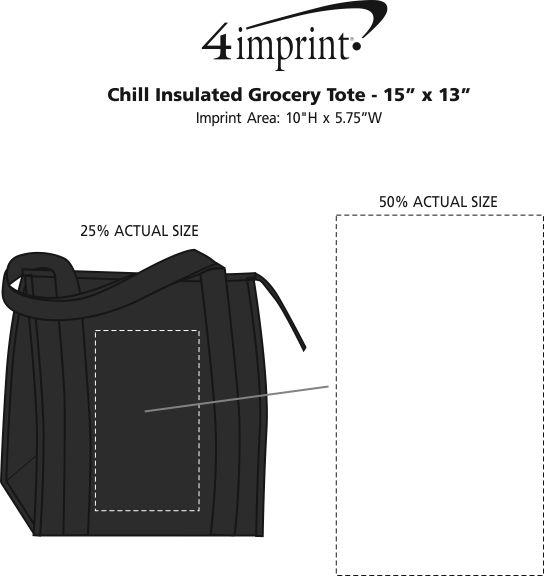 """Imprint Area of Chill Insulated Grocery Tote - 15"""" x 13"""""""