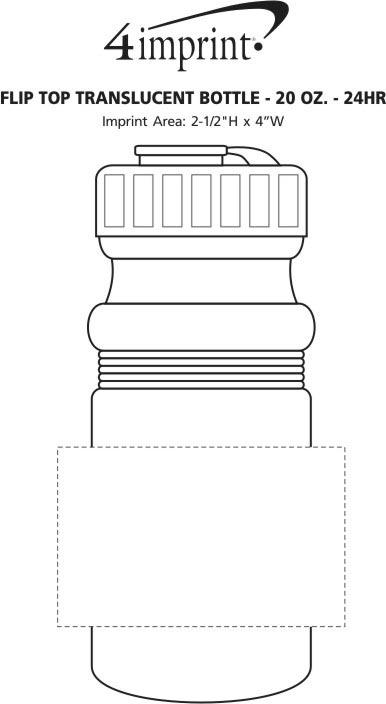 Imprint Area of Flip Top Translucent Bottle - 20 oz. - 24 hr