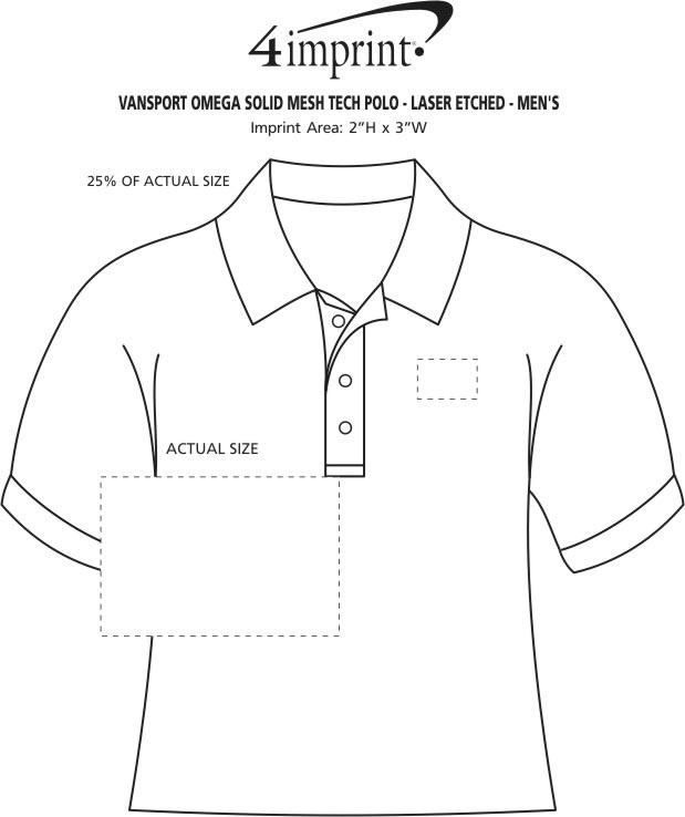 Imprint Area of Vansport Omega Solid Mesh Tech Polo - Men's - Laser Etched