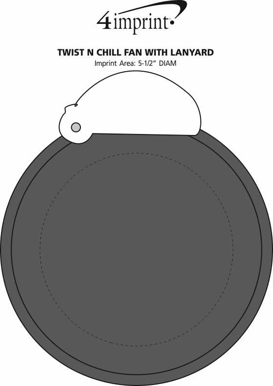 Imprint Area of Twist and Chill Fan with Lanyard