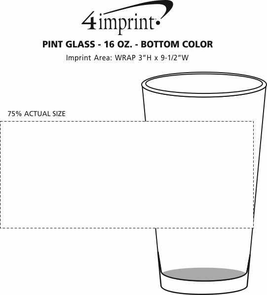 Imprint Area of Pint Glass - 16 oz. - Bottom Color