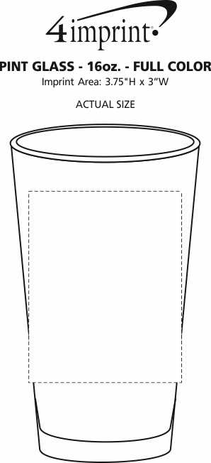 Imprint Area of Pint Glass - 16 oz. - Full Color