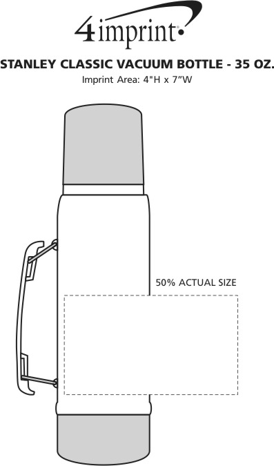 Imprint Area of Stanley Classic Vacuum Bottle with Handle - 35 oz.