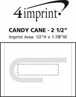 "Imprint Area of Candy Cane - Small - 2-1/2"" - 3-1/2"""