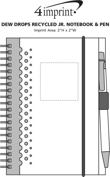 Imprint Area of Dew Drops Recycled Jr. Notebook & Pen