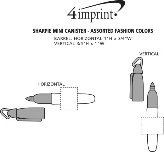 Imprint Area of Sharpie Mini Canister - Assorted Fashion Colors