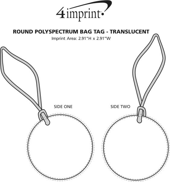 Imprint Area of Round POLYspectrum Bag Tag - Translucent