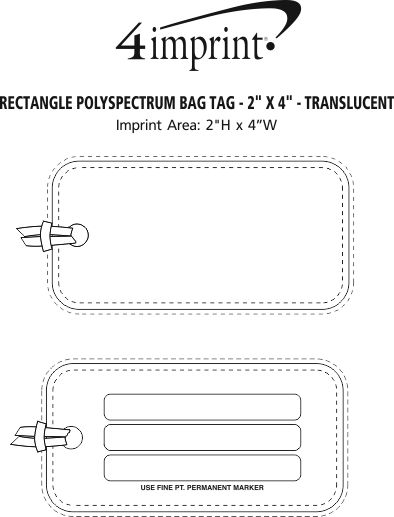 "Imprint Area of Rectangle POLYspectrum Bag Tag - 2"" x 4"" - Translucent"
