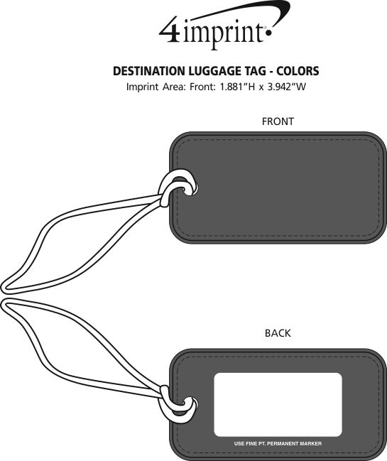 Imprint Area of Destination Luggage Tag - Colors