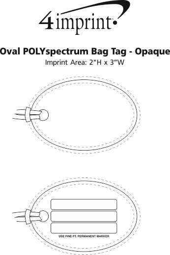 Imprint Area of Oval POLYspectrum Bag Tag - Opaque
