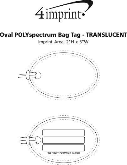 Imprint Area of Oval POLYspectrum Bag Tag - Translucent