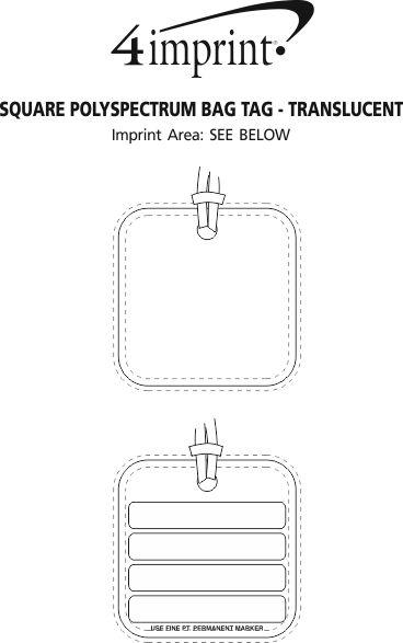 Imprint Area of Square POLYspectrum Bag Tag - Translucent