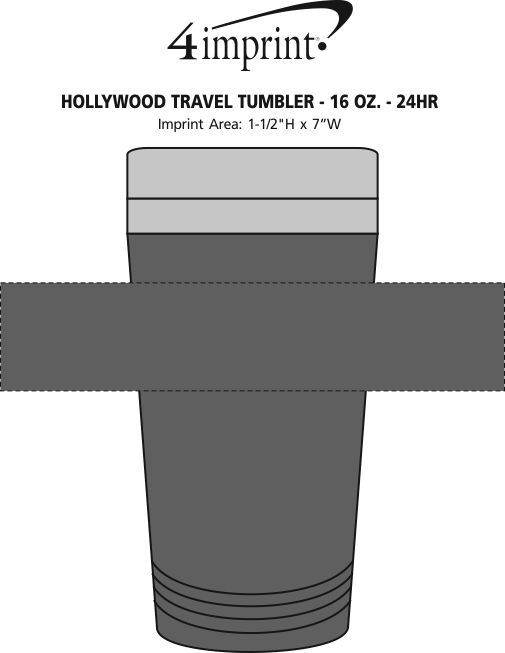 Imprint Area of Hollywood Travel Tumbler - 16 oz. - 24 hr