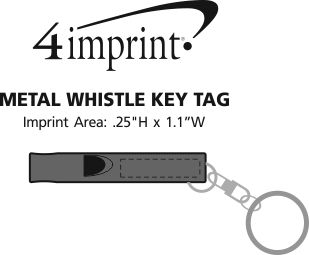 Imprint Area of Metal Whistle Keychain