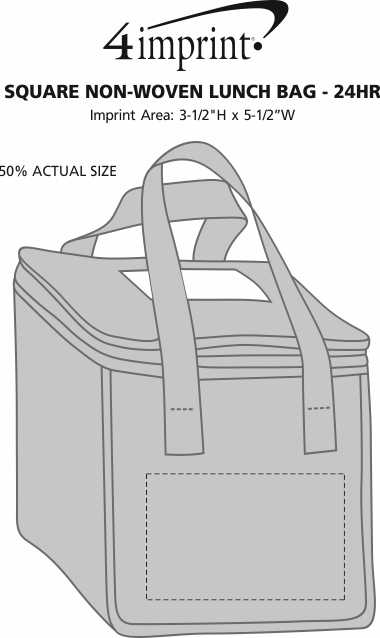 Imprint Area of Square Non-Woven Lunch Bag - 24 hr