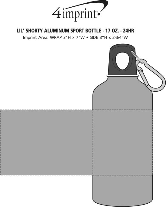 Imprint Area of Lil' Shorty Aluminum Sport Bottle - 17 oz. - 24 hr